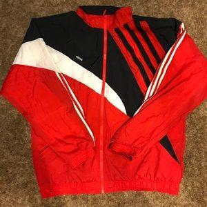 Adidas Men Red Windbreaker Size: XL